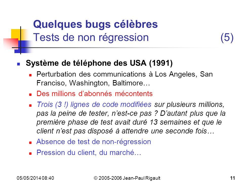 © 2005-2006 Jean-Paul Rigault 05/05/2014 08:4211 Quelques bugs célèbres Tests de non régression (5) Système de téléphone des USA (1991) Perturbation des communications à Los Angeles, San Franciso, Washington, Baltimore… Des millions dabonnés mécontents Trois (3 !) lignes de code modifiées sur plusieurs millions, pas la peine de tester, nest-ce pas .