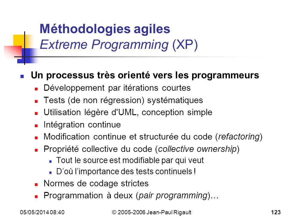 © 2005-2006 Jean-Paul Rigault 05/05/2014 08:42123 Méthodologies agiles Extreme Programming (XP) Un processus très orienté vers les programmeurs Développement par itérations courtes Tests (de non régression) systématiques Utilisation légère d UML, conception simple Intégration continue Modification continue et structurée du code (refactoring) Propriété collective du code (collective ownership) Tout le source est modifiable par qui veut Doù limportance des tests continuels .