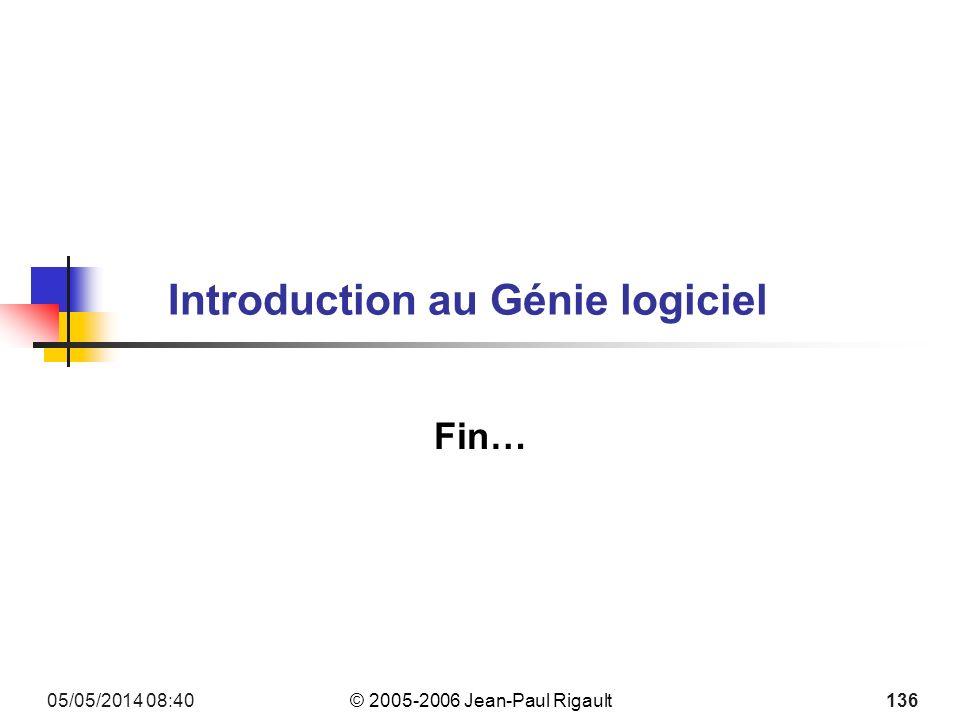 © 2005-2006 Jean-Paul Rigault 05/05/2014 08:42 136 Introduction au Génie logiciel Fin…