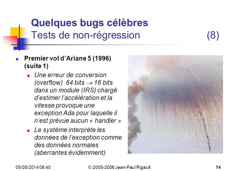 © 2005-2006 Jean-Paul Rigault 05/05/2014 08:4214 Quelques bugs célèbres Tests de non-régression (8) Premier vol dAriane 5 (1996) (suite 1) Une erreur de conversion (overflow) 64 bits 16 bits dans un module (IRS) chargé destimer laccélération et la vitesse provoque une exception Ada pour laquelle il nest prévue aucun « handler » Le système interprète les données de lexception comme des données normales (aberrantes évidemment)