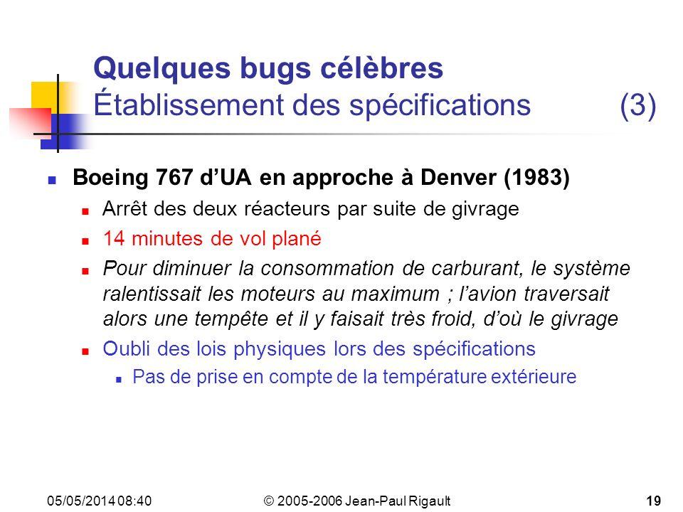 © 2005-2006 Jean-Paul Rigault 05/05/2014 08:4219 Quelques bugs célèbres Établissement des spécifications(3) Boeing 767 dUA en approche à Denver (1983) Arrêt des deux réacteurs par suite de givrage 14 minutes de vol plané Pour diminuer la consommation de carburant, le système ralentissait les moteurs au maximum ; lavion traversait alors une tempête et il y faisait très froid, doù le givrage Oubli des lois physiques lors des spécifications Pas de prise en compte de la température extérieure
