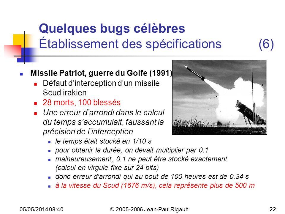 © 2005-2006 Jean-Paul Rigault 05/05/2014 08:4222 Quelques bugs célèbres Établissement des spécifications(6) Missile Patriot, guerre du Golfe (1991) Défaut dinterception dun missile Scud irakien 28 morts, 100 blessés Une erreur darrondi dans le calcul du temps saccumulait, faussant la précision de linterception le temps était stocké en 1/10 s pour obtenir la durée, on devait multiplier par 0.1 malheureusement, 0.1 ne peut être stocké exactement (calcul en virgule fixe sur 24 bits) donc erreur darrondi qui au bout de 100 heures est de 0.34 s à la vitesse du Scud (1676 m/s), cela représente plus de 500 m