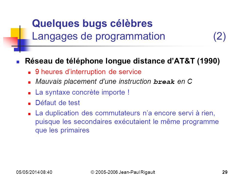 © 2005-2006 Jean-Paul Rigault 05/05/2014 08:4229 Quelques bugs célèbres Langages de programmation(2) Réseau de téléphone longue distance dAT&T (1990) 9 heures dinterruption de service Mauvais placement dune instruction break en C La syntaxe concrète importe .