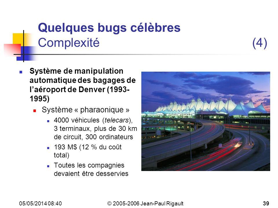© 2005-2006 Jean-Paul Rigault 05/05/2014 08:4239 Quelques bugs célèbres Complexité(4) Système de manipulation automatique des bagages de laéroport de Denver (1993- 1995) Système « pharaonique » 4000 véhicules (telecars), 3 terminaux, plus de 30 km de circuit, 300 ordinateurs 193 M$ (12 % du coût total) Toutes les compagnies devaient être desservies
