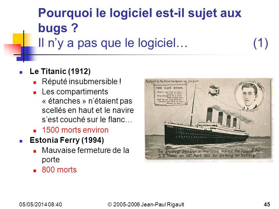 © 2005-2006 Jean-Paul Rigault 05/05/2014 08:4245 Pourquoi le logiciel est-il sujet aux bugs .