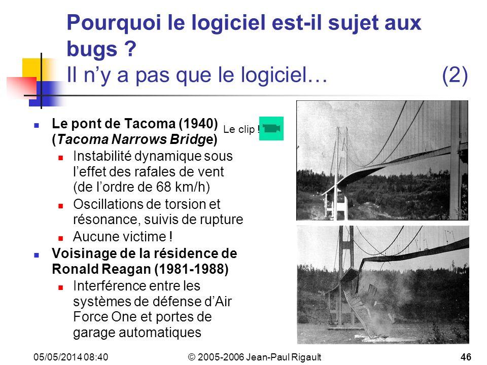 © 2005-2006 Jean-Paul Rigault 05/05/2014 08:4246 Pourquoi le logiciel est-il sujet aux bugs .