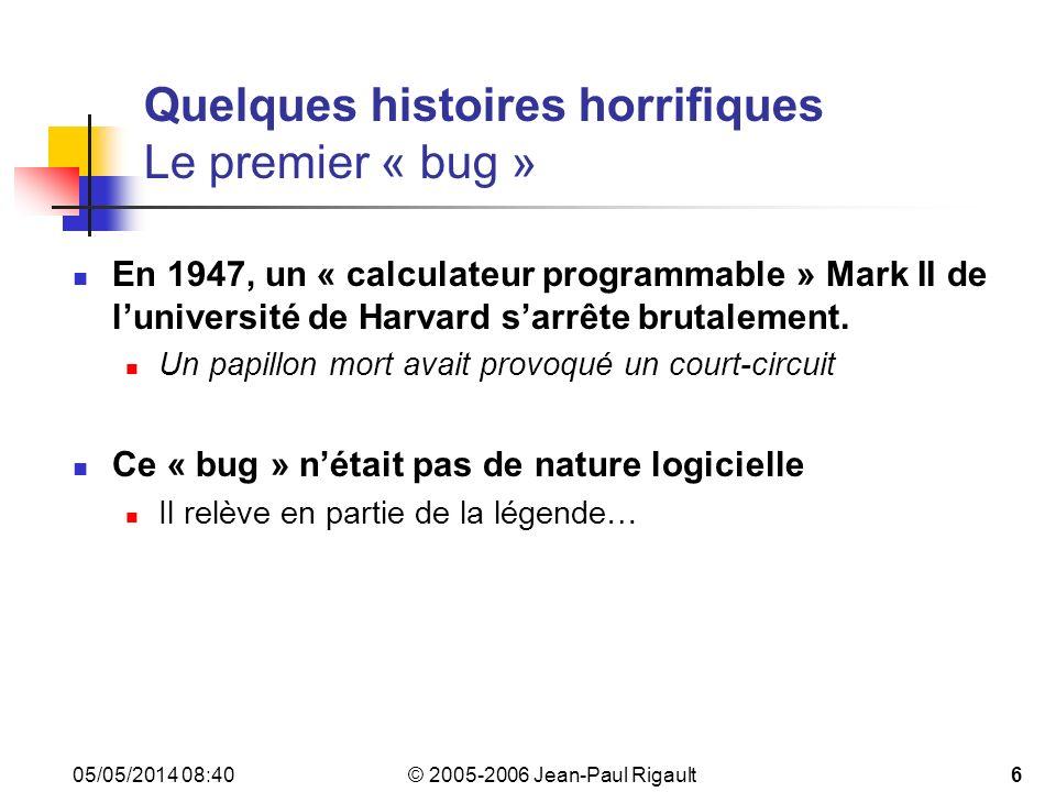 © 2005-2006 Jean-Paul Rigault 05/05/2014 08:4227 Quelques bugs célèbres Tests dintégration(3) Mars Polar Lander (1999) Écrasement sur Mars au lieu dun atterissage en douceur Échec de la mission (194 M$) Un module déployait les jambes pour latterrissage, lautre détectait les secousses (censées marquer la fin de latterrissage) et coupait les moteurs.