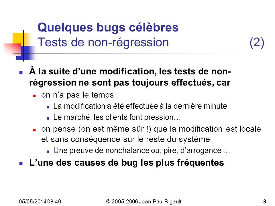 © 2005-2006 Jean-Paul Rigault 05/05/2014 08:4249 Pourquoi le logiciel est-il sujet aux bugs .