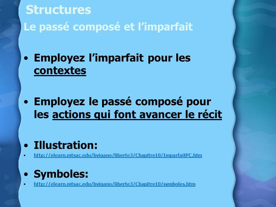 Structures Le passé composé et limparfait Employez limparfait pour les contextes Employez le passé composé pour les actions qui font avancer le récit