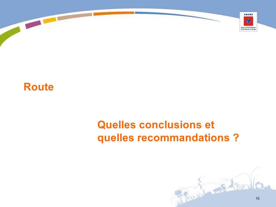 Route Quelles conclusions et quelles recommandations ? 16