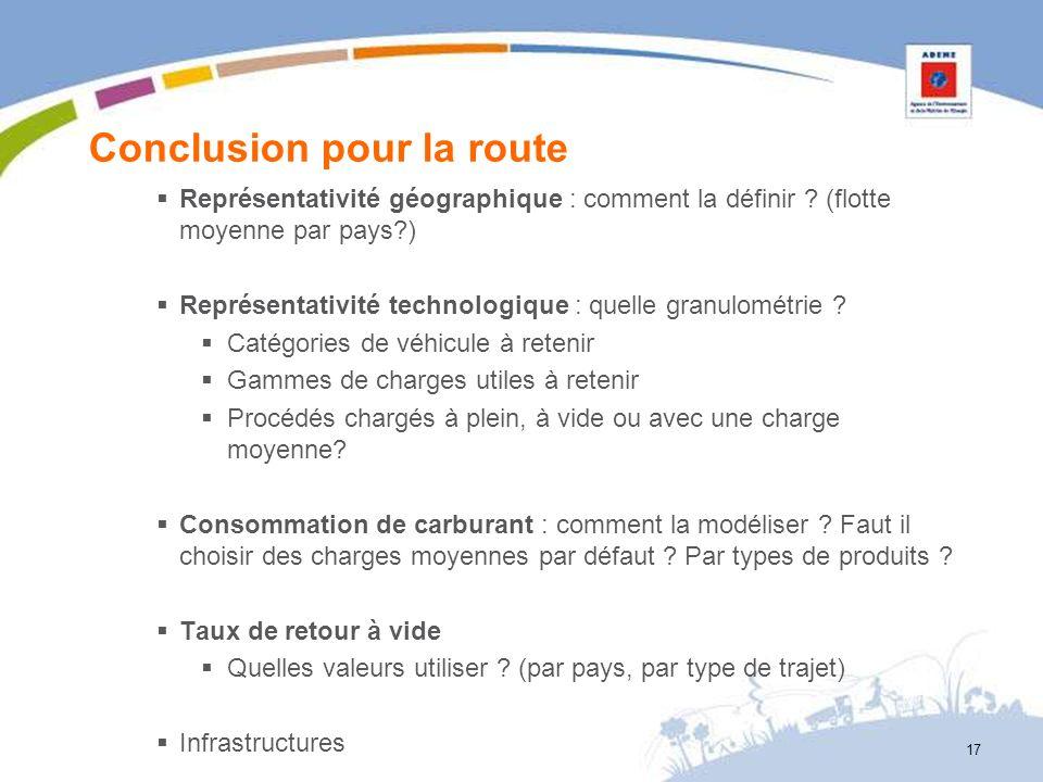 Conclusion pour la route Représentativité géographique : comment la définir ? (flotte moyenne par pays?) Représentativité technologique : quelle granu