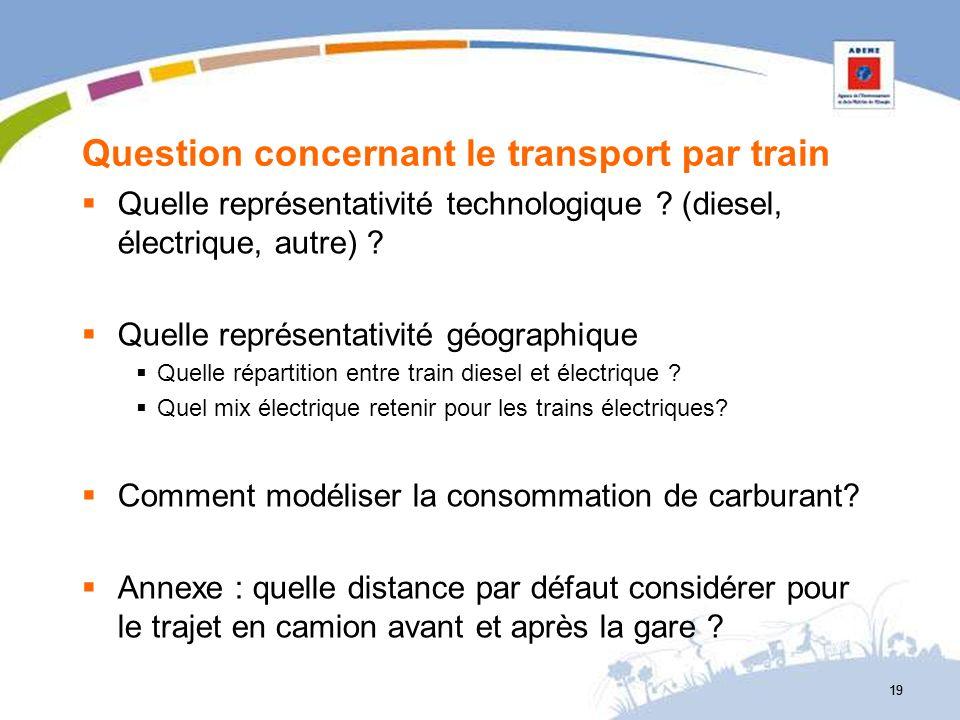 Question concernant le transport par train Quelle représentativité technologique ? (diesel, électrique, autre) ? Quelle représentativité géographique