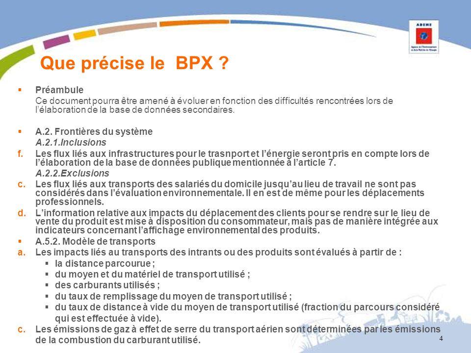 Que précise le BPX ? Préambule Ce document pourra être amené à évoluer en fonction des difficultés rencontrées lors de lélaboration de la base de donn
