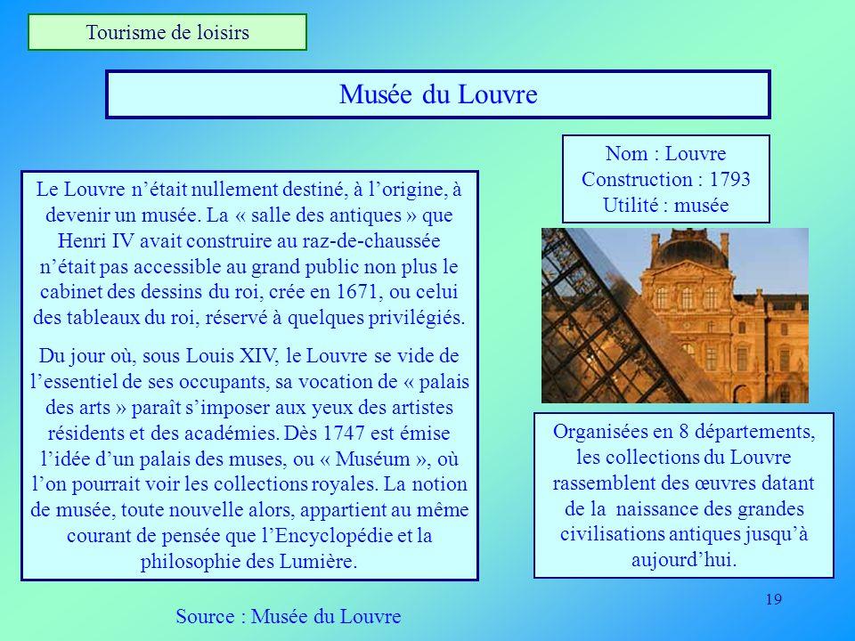 19 Tourisme de loisirs Musée du Louvre Nom : Louvre Construction : 1793 Utilité : musée Le Louvre nétait nullement destiné, à lorigine, à devenir un m
