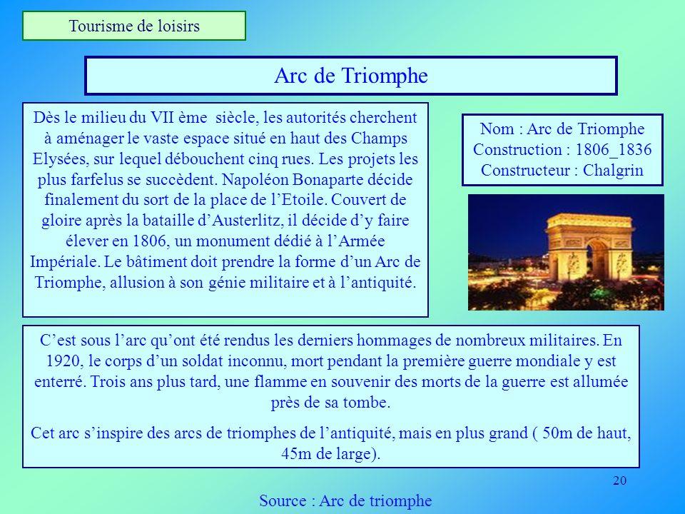 20 Tourisme de loisirs Arc de Triomphe Nom : Arc de Triomphe Construction : 1806_1836 Constructeur : Chalgrin Dès le milieu du VII ème siècle, les aut