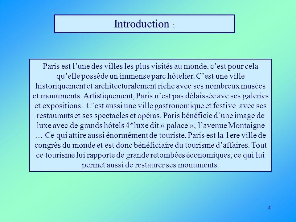 4 Introduction : Paris est lune des villes les plus visités au monde, cest pour cela quelle possède un immense parc hôtelier. Cest une ville historiqu