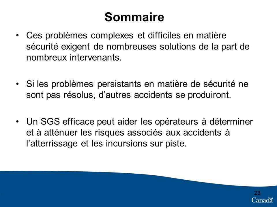 23 Sommaire Ces problèmes complexes et difficiles en matière sécurité exigent de nombreuses solutions de la part de nombreux intervenants.