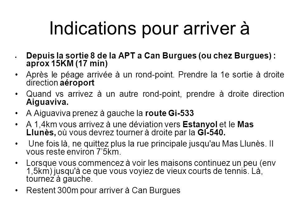 Indications pour arriver à Depuis la sortie 8 de la APT a Can Burgues (ou chez Burgues) : aprox 15KM (17 min) Après le péage arrivée à un rond-point.