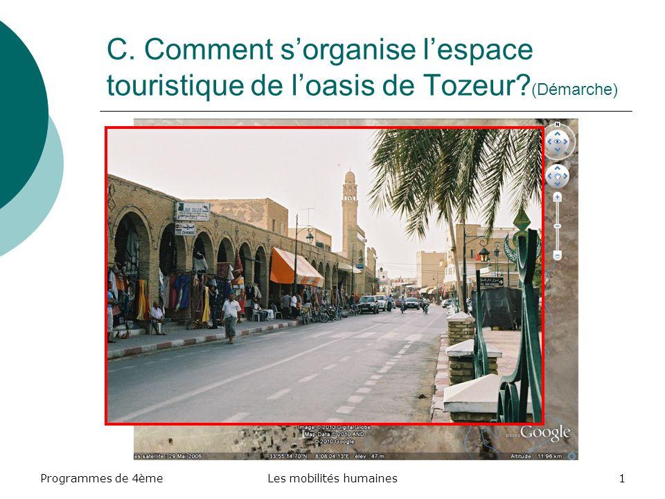 Programmes de 4èmeLes mobilités humaines22 Liaison Programme – Socle commun Capacités Socle commun Compétence / Item Mise en œuvre dans la séquence Décrire : Limpact du tourisme dans lespace étudié.