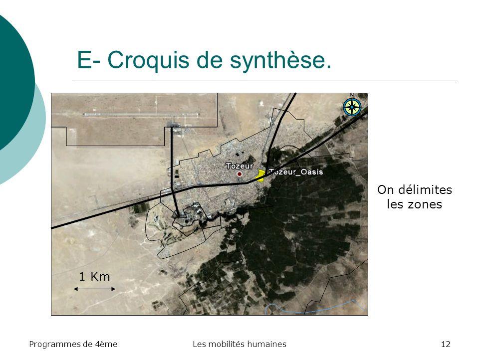 Programmes de 4èmeLes mobilités humaines12 E- Croquis de synthèse. 1 Km On délimites les zones