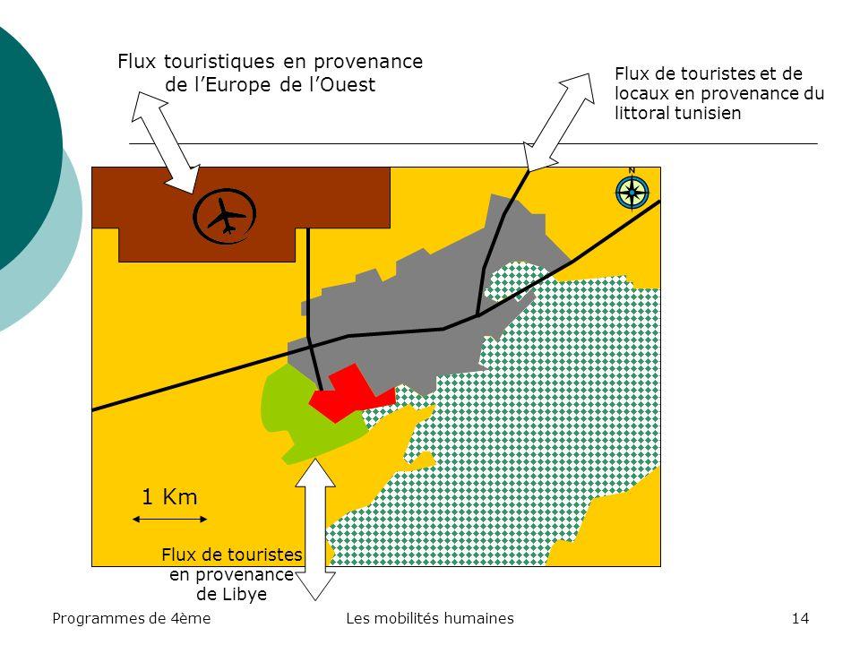 Programmes de 4èmeLes mobilités humaines14 1 Km Flux touristiques en provenance de lEurope de lOuest Flux de touristes et de locaux en provenance du littoral tunisien Flux de touristes en provenance de Libye