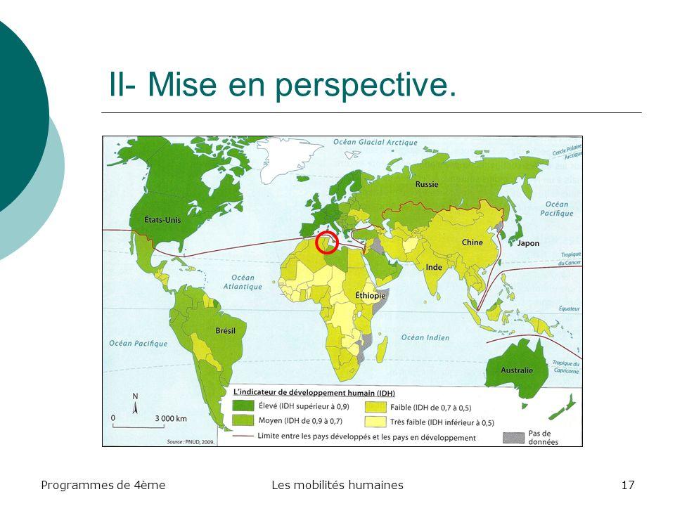 Programmes de 4èmeLes mobilités humaines17 II- Mise en perspective.