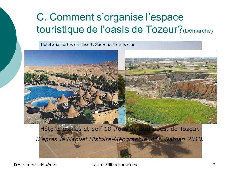 Programmes de 4èmeLes mobilités humaines3 Le territoire de Tozeur, situé aux portes du Sahara sorganise autour dun centre urbain dont laccès est facilité par la présence dun aéroport au Nord.