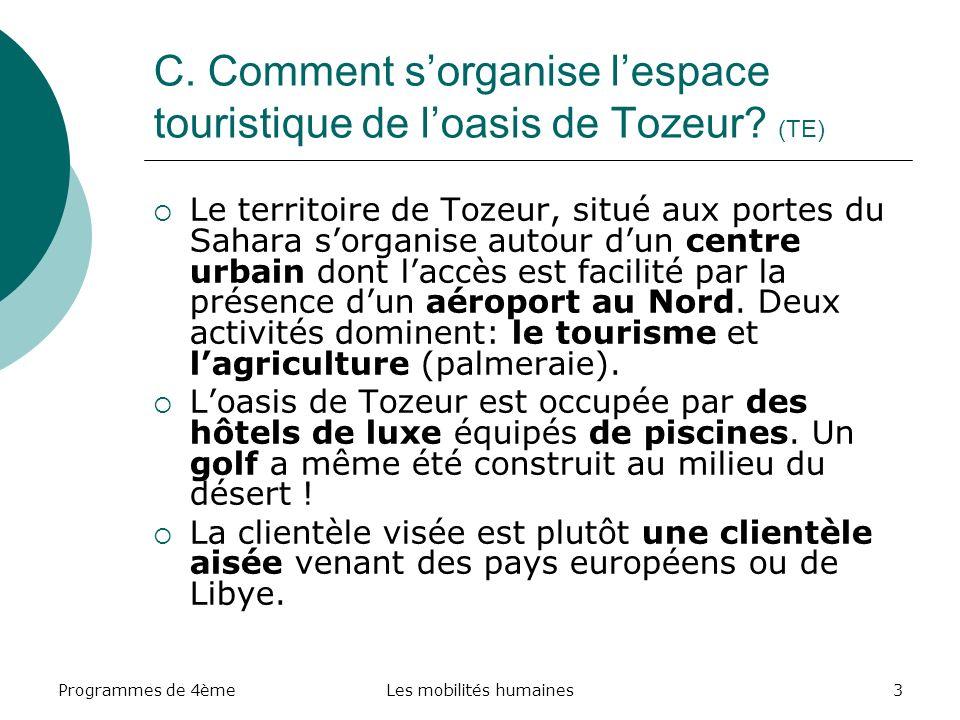 Programmes de 4èmeLes mobilités humaines4 D.Limpact du tourisme sur lOasis de Tozeur.
