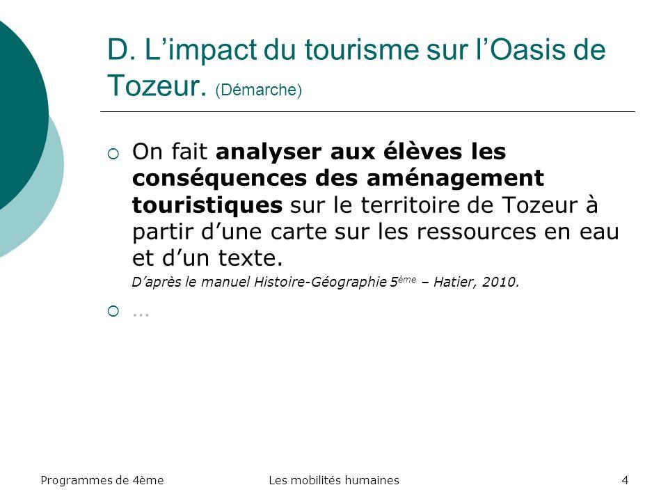 Programmes de 4èmeLes mobilités humaines5 D. Limpact du tourisme sur lOasis de Tozeur. (Démarche)