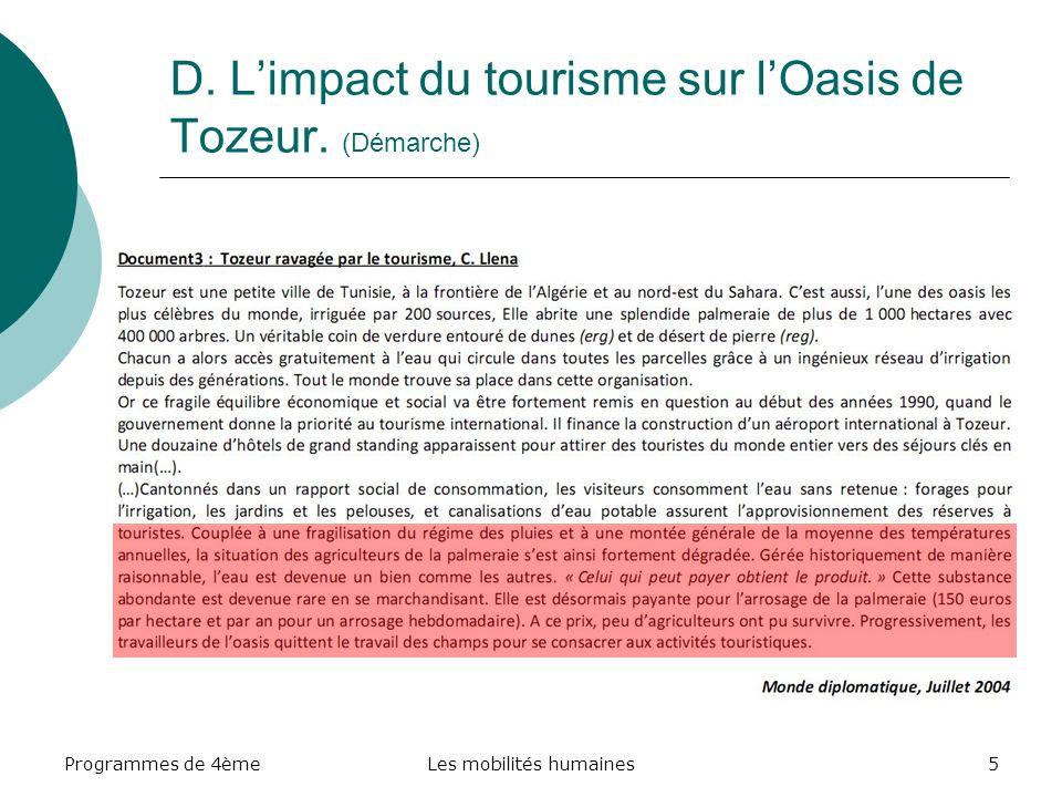 Programmes de 4èmeLes mobilités humaines16 II- Mise en perspective : On repart de la carte de l IDH pour montrer le niveau de développement de la Tunisie et la fracture avec les pays d Europe de l Ouest d où viennent majoritairement les touristes.