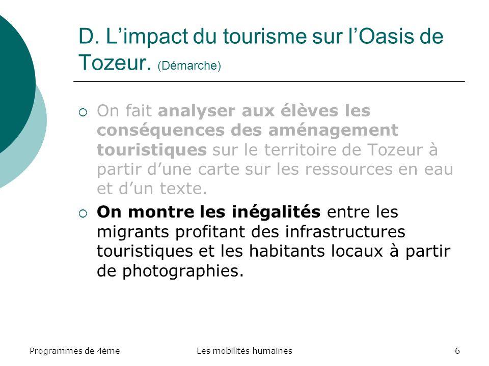 Programmes de 4èmeLes mobilités humaines6 D.Limpact du tourisme sur lOasis de Tozeur.