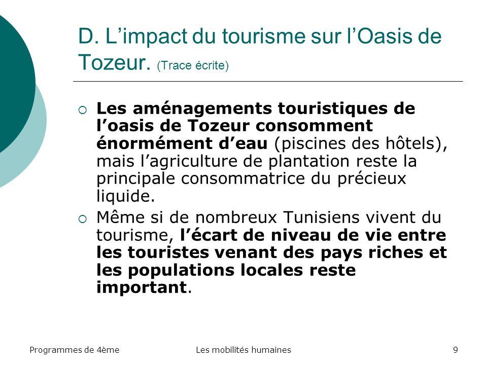 Programmes de 4èmeLes mobilités humaines9 Les aménagements touristiques de loasis de Tozeur consomment énormément deau (piscines des hôtels), mais lagriculture de plantation reste la principale consommatrice du précieux liquide.