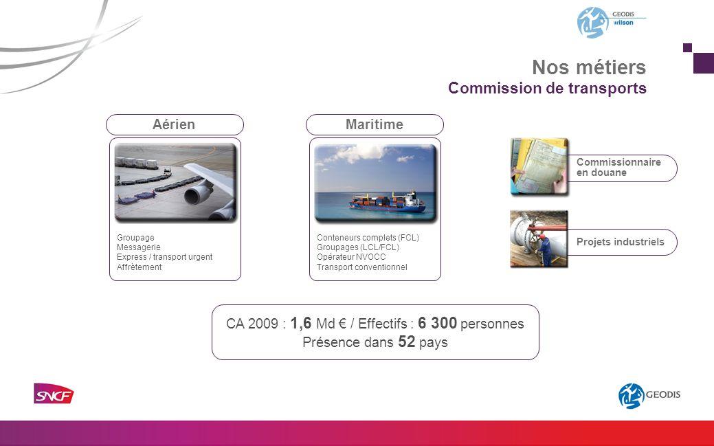 Projets industriels Commissionnaire en douane Commission de transports CA 2009 : 1,6 Md / Effectifs : 6 300 personnes Présence dans 52 pays AérienMari
