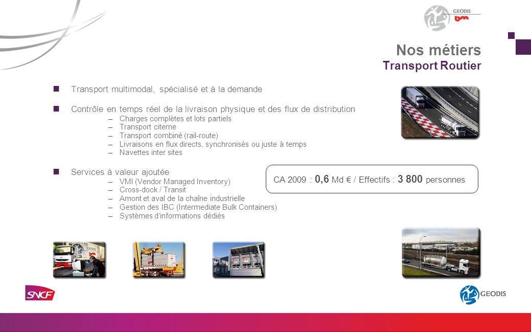 Transport multimodal, spécialisé et à la demande Contrôle en temps réel de la livraison physique et des flux de distribution –Charges complètes et lot
