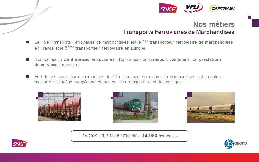 Le Pôle Transports Ferroviaires de marchandises est le 1 er transporteur ferroviaire de marchandises en France et le 3 ème transporteur ferroviaire en