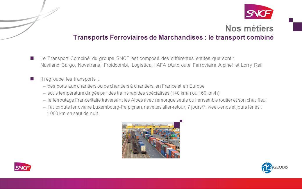Le Transport Combiné du groupe SNCF est composé des différentes entités que sont : Naviland Cargo, Novatrans, Froidcombi, Logistica, lAFA (Autoroute F