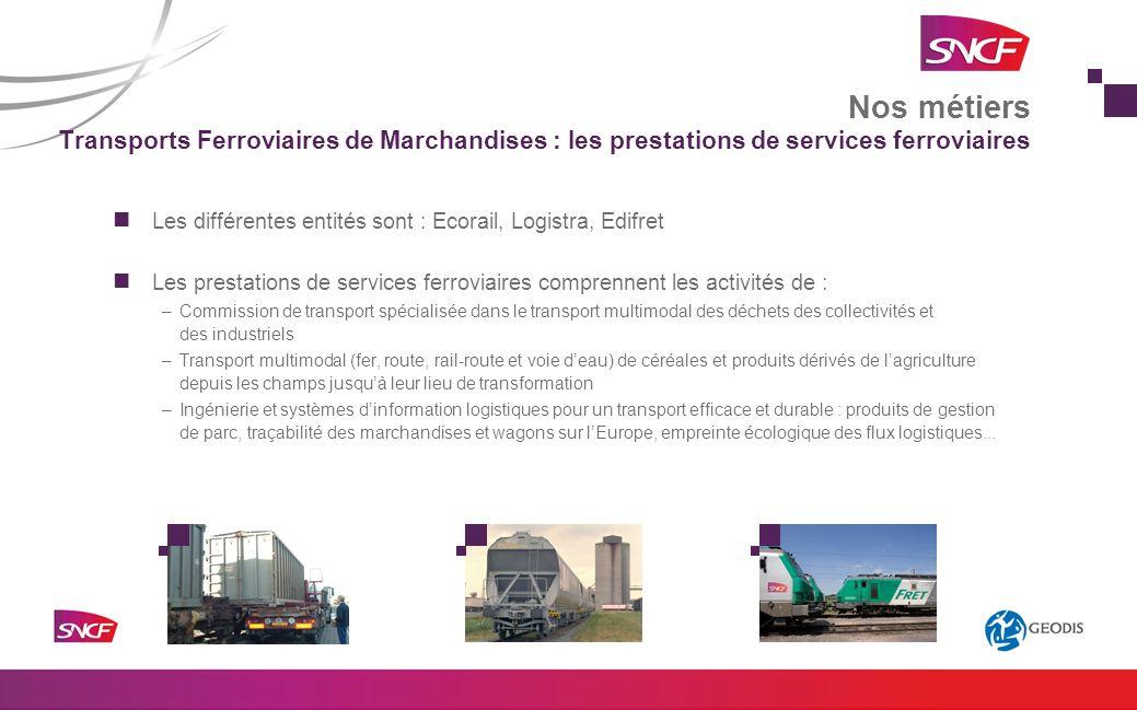 Les différentes entités sont : Ecorail, Logistra, Edifret Les prestations de services ferroviaires comprennent les activités de : –Commission de trans