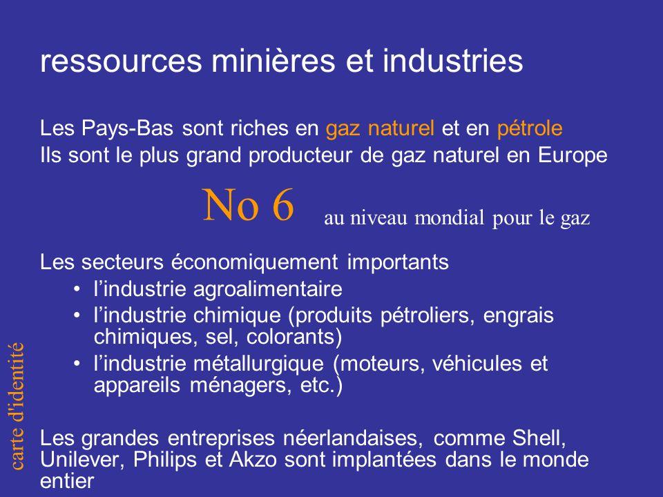 Les Pays-Bas sont riches en gaz naturel et en pétrole Ils sont le plus grand producteur de gaz naturel en Europe Les secteurs économiquement importants lindustrie agroalimentaire lindustrie chimique (produits pétroliers, engrais chimiques, sel, colorants) lindustrie métallurgique (moteurs, véhicules et appareils ménagers, etc.) Les grandes entreprises néerlandaises, comme Shell, Unilever, Philips et Akzo sont implantées dans le monde entier ressources minières et industries carte d identité au niveau mondial pour le gaz No 6