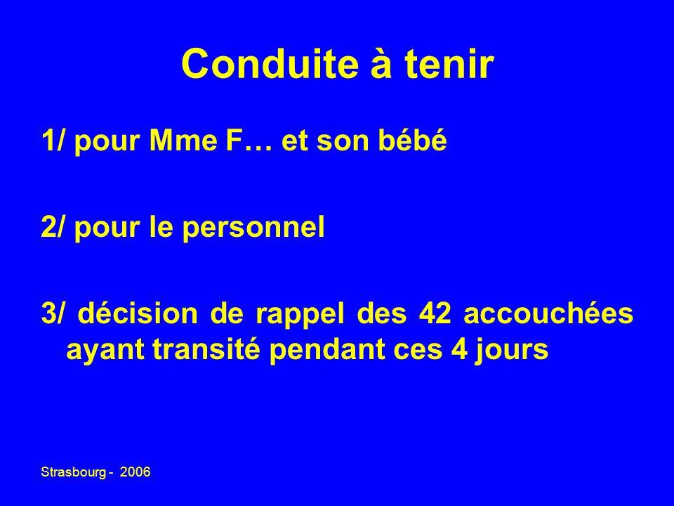 Strasbourg - 2006 Conduite à tenir 1/ pour Mme F… et son bébé 2/ pour le personnel 3/ décision de rappel des 42 accouchées ayant transité pendant ces 4 jours