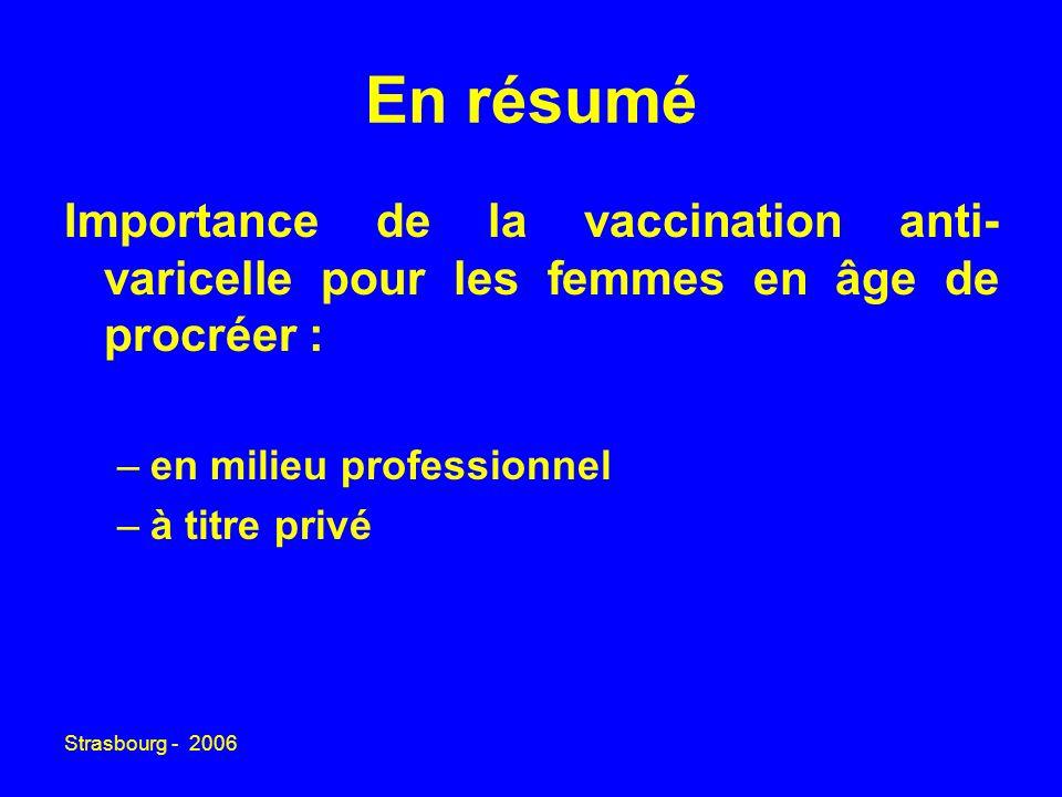 Strasbourg - 2006 En résumé Importance de la vaccination anti- varicelle pour les femmes en âge de procréer : –en milieu professionnel –à titre privé
