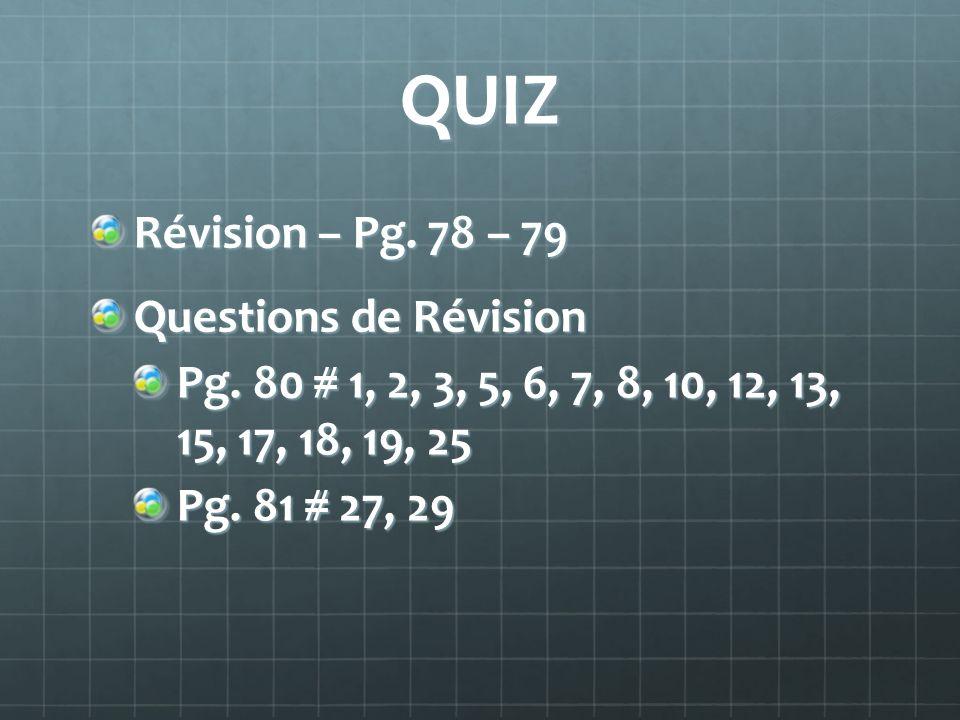 QUIZ Révision – Pg.78 – 79 Questions de Révision Pg.