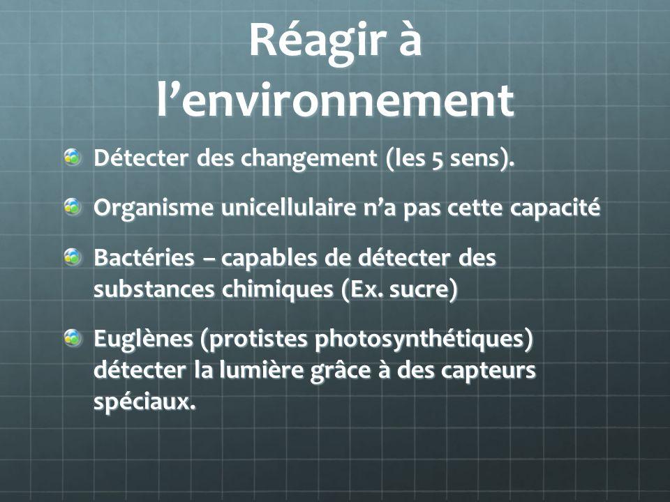 Réagir à lenvironnement Détecter des changement (les 5 sens).