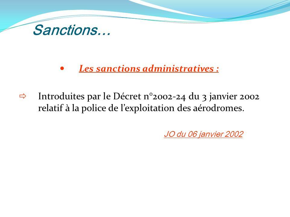 Sanctions… Les sanctions administratives : Introduites par le Décret n°2002-24 du 3 janvier 2002 relatif à la police de lexploitation des aérodromes.