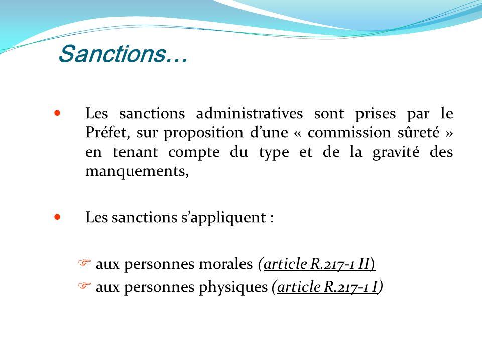 Sanctions… Les sanctions administratives sont prises par le Préfet, sur proposition dune « commission sûreté » en tenant compte du type et de la gravité des manquements, Les sanctions sappliquent : aux personnes morales (article R.217-1 II) aux personnes physiques (article R.217-1 I)