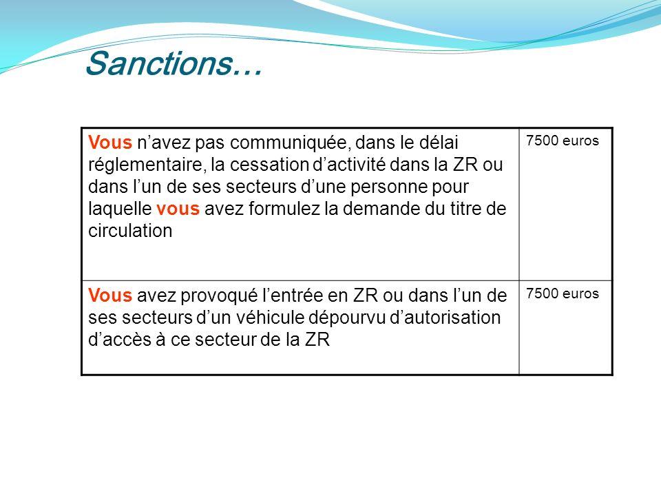 Sanctions… Vous navez pas communiquée, dans le délai réglementaire, la cessation dactivité dans la ZR ou dans lun de ses secteurs dune personne pour laquelle vous avez formulez la demande du titre de circulation 7500 euros Vous avez provoqué lentrée en ZR ou dans lun de ses secteurs dun véhicule dépourvu dautorisation daccès à ce secteur de la ZR 7500 euros
