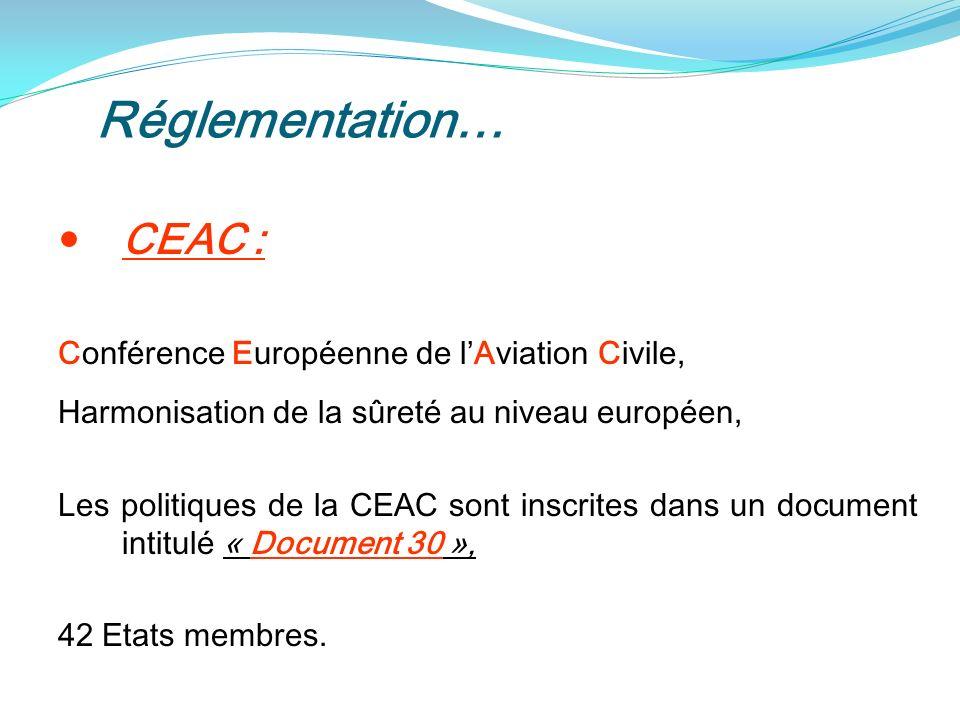 Réglementation… CEAC : Conférence Européenne de lAviation Civile, Harmonisation de la sûreté au niveau européen, Les politiques de la CEAC sont inscrites dans un document intitulé « Document 30 », 42 Etats membres.