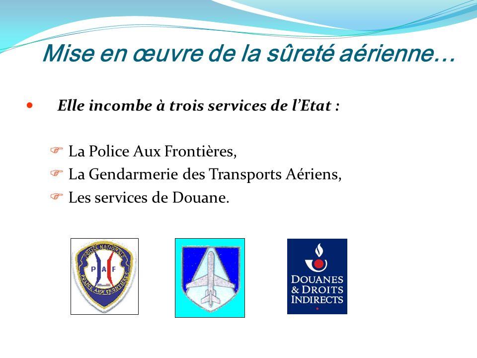 Mise en œuvre de la sûreté aérienne… Elle incombe à trois services de lEtat : La Police Aux Frontières, La Gendarmerie des Transports Aériens, Les services de Douane.