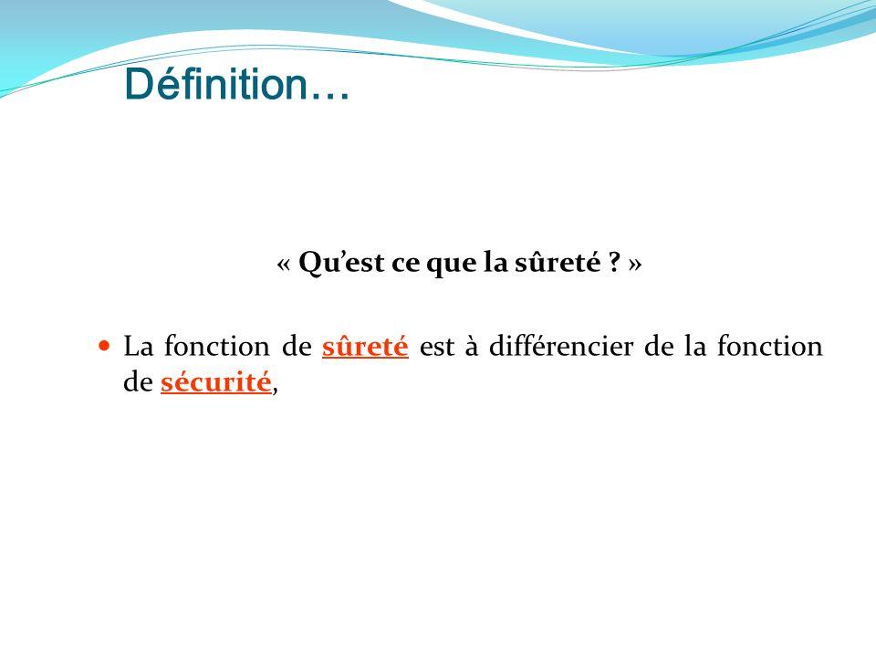 Définition… « Quest ce que la sûreté .