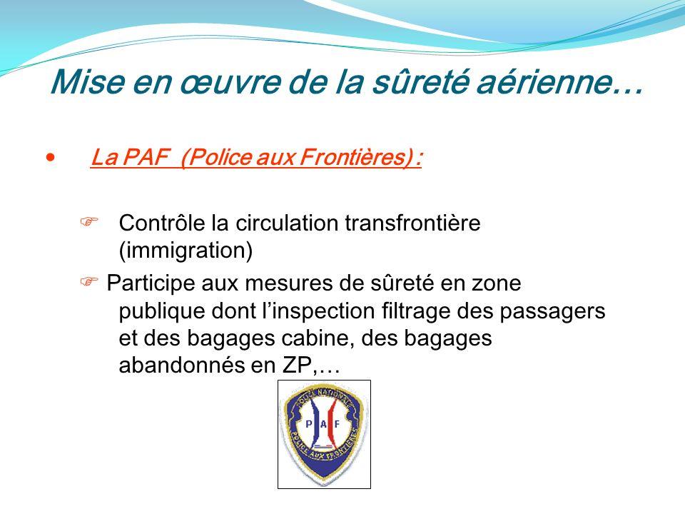 Mise en œuvre de la sûreté aérienne… La PAF (Police aux Frontières) : Contrôle la circulation transfrontière (immigration) Participe aux mesures de sûreté en zone publique dont linspection filtrage des passagers et des bagages cabine, des bagages abandonnés en ZP,…