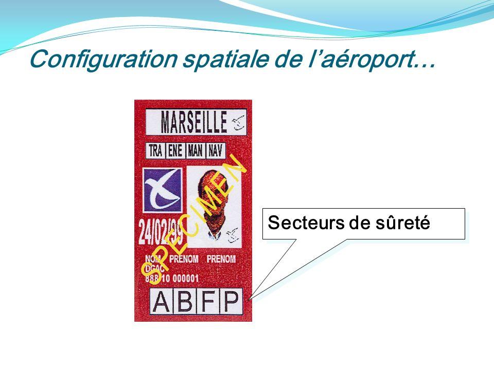 Configuration spatiale de laéroport… Secteurs de sûreté